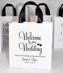 Je vous remercie d'impression personnalisée blanc mariage cadeau de Noël Valentine bonbons Sacs pour les clients