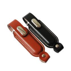 Logo personnalisé en cuir marron lecteur Flash USB