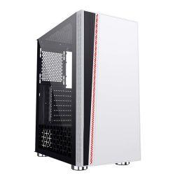 Wit ABS kunststof ijzeren gaas paneel 4,0 mm getemperde glascoating Film Sideboard RGB-ventilator PC-towerbehuizing