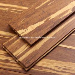 耐久クリックロック100%の固体タケはトラの縞の繊維によって編まれるタケフロアーリングに床を張る