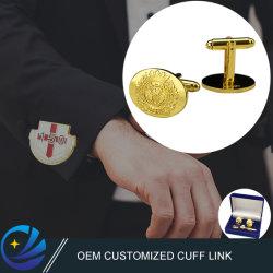 Cina fabbrica Commercio all'ingrosso personalizzato Moda metallo Cuff link materiale ottone Gemelli militari placcati in oro con confezione regalo