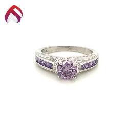 高品質の紫色の宝石の宝石類925の純銀製の婚約指輪