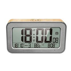 Madera LCD pequeña alarma digital de música 25 Reloj de escritorio