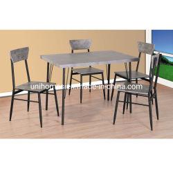 4개의 의자 부엌 식당 시골풍 직사각형 조반 테이블 및 의자를 위한 식탁 세트는 시트 금속 프레임, 회색 또는 검정으로 놓았다