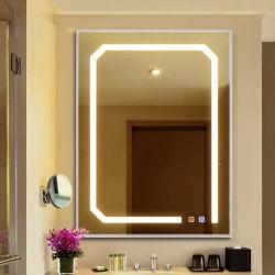 Fábrica de Foshan Nuevo estilo de diseño moderno cuarto de baño espejo LED de iluminación cuadrados Toque Abrir Muebles de Baño