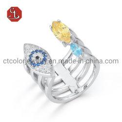 Fashion Sieraden Opening Evil Eye Silver Ring Kleur kubieke zirconia Stenen of messing ring sieraden