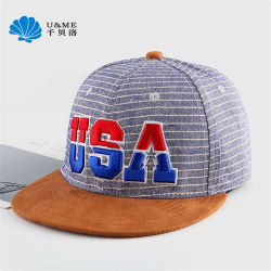 3D Bordados Suede plano rasante Stripe Snapback Sports Custom Hip Hop Hat Cap
