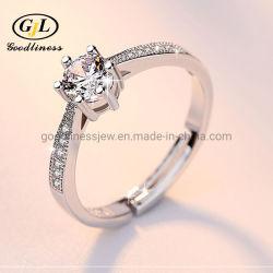 Bodas de plata Anillos de Bodas de Lujo en 6mm redondo Cubic Zirconia Engagement Ring para mujeres Joyería mayorista banquetes