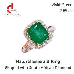 약혼 반지 브리달 고급 보석 천연 에메랄드 링 18K 골드 남아프리카 다이아몬드 Custom Women Ring Jewelry Diamond Wedding GRC로 보석에 반지를 줍니다