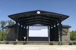 600용 방수 PVC 휴대용 팽창식 프로젝터 영화 스크린 25FT 시청자