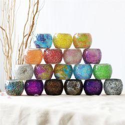 Mayorista de forma de bola de cristal coloreado tarros velas portavelas de vidrio de mercurio