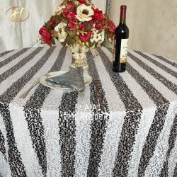 La moderna fábrica de Shaoxing de rayas en blanco y negro Sequin Rectangular mantel para la boda