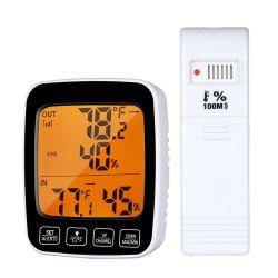 En el interior de termómetro digital inalámbrica exterior higrómetro reloj con sensor remoto de 3 canales