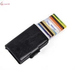 カスタムメタルウォレットカードホルダ設計者 ID クレジットプラスチックシリコン PVC レザービジネスプレース磁気 RFID アルミニウムプッシュアップカード ホルダー