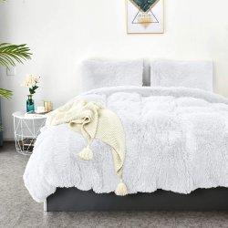 Faux Fur la ropa de cama de felpa de terciopelo ajustado Edredón Edredón Edredón cubierta con la almohada Shams, ultra suaves y duraderos en caliente
