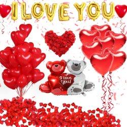 أحبك البالونات و طقم البالونات القلبية مع 1000 PCS بتلات الحرير الأحمر الداكن الورد زخارف الزهور الورود الحبّ-بير الأحمر بالونات القلب لتكافؤ عيد الحب