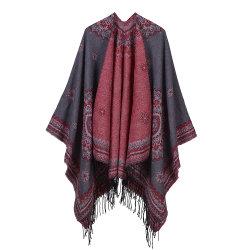 Venda a quente Travel Cashmere xale de pregas inverno quente padrão Lace Pashmina Xailes mulheres cachecóis e veludo Jercy iemenita conjunto Capô verdadeiro xale de peles com pêlo