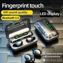 Auricolari TWS V5.0 auricolari stereo 9d cuffie wireless Giochi sportivi Scatola di ricarica impermeabile per cuffie con microfono