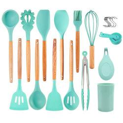 Jeu d'outils de cuisine Ustensiles de ménage outil poignée en bois Ustensiles de cuisine en silicone