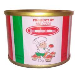 Chinois Premium bon marché 70g en conserve de pâte de tomates concentrée Halal nourriture Avec personnalisé