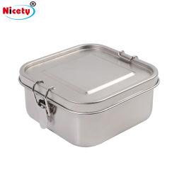 OEM / ODM vaisselle Square étanches de la vaisselle/Les ustensiles de cuisine Camping Safe Boîte à lunch avec anneau en silicone et des boucles en acier inoxydable contenant des aliments