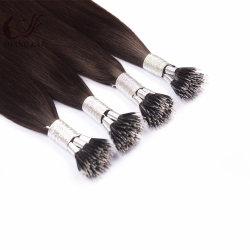 工場卸し売りNano先端のクチクラによって一直線に並べられる毛の拡張人間の毛髪のロシアかモンゴルのRemy