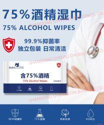 Venta caliente OEM alcohol al 75% Anti Virus la limpieza de las toallitas húmedas Portable toallitas desinfectantes