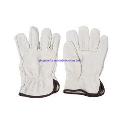 Het beige Werk van het Leer van de Huid van het Varken van de Duim van de Hoeksteen van de Kleur Gloves Beschermende Handschoenen
