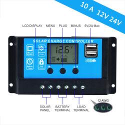 10A 12V/24V Auto Le travail du contrôleur de charge solaire Max entrée PV 120W/240W avec deux ports USB L'écran LCD