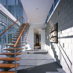 Página inicial personalizada no interior de aço carbono Corrimão de madeira sólida escada reta