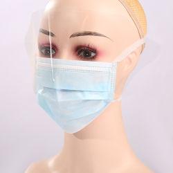 قناع الوجه الواقي ثلاثي الطبقات القابل للاستخدام مع واقي العين واقي الوجه للبالغين من الضباب شفاف