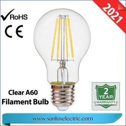 Decoración Luz LED GLS 4W 6W 8W A 8W60 C35 4W G45 de la luz de lámpara de filamento de color ámbar claro