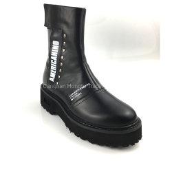 Fashion femmes Chelsea Martin cheville Mesdames à plat des bottes en cuir femmes