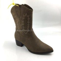Les femmes bottes de cow-boy Lettre de l'ouest de la broderie cuir pleine fleur