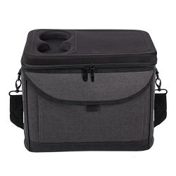 Il grande sacchetto del dispositivo di raffreddamento di picnic isolato di promozione nero, sacchetto della gestione del pasto per pranzo con la tazza