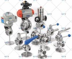 위생적인 스테인리스 스틸 버터플라이 밸브/전기 액추에이터/공압/체크 밸브/볼 밸브/다이어프램 밸브 수동 DIN/SMS/3A SS304 SS316L 사용