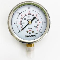 """304 roestvrijstalen drukmeters, bar, psi, kgf/cm2, ATM, mmHg, Lbf/in2, mm/H2O 2-1/2"""", 2.5""""/inch, 63 mm, 60 mm meetklok, 1/8"""" onderste montage"""