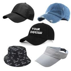 사용자 정의 자수 인쇄 로고 5 패널 6 패널 아빠를 달리는 CAP 골프 스포츠 캡 패션 야구 캡 바이저 모자 버킷 모자 및 캡