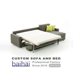 Estofos em tecido mobiliário funcional de moda canto de dobragem Sofá-Cama