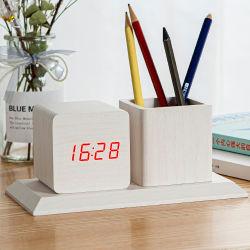 Kh-Wc009 multifuncional personalizado el cubo de la Oficina de mesa de madera de escritorio porta lápiz con reloj digital LED de alarma de calendario