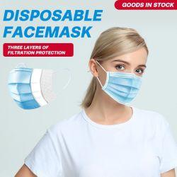 Одноразовые маску для лица 3ply фильтры защиты от пыли синий Non-Woven тканей