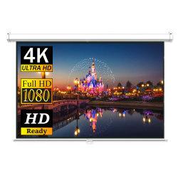 4:3 100인치 벽면 장착형 프로젝터 스크린 수동 풀다운 프로젝션 스크린 HD 홈 시어터