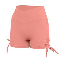 2021 Sexy Europeos y Americanos vendaje de color sólido Yoga fitness femenino Verano Polainas medias cordón cintura alta Yoga deportivo Casual pantalones cortos