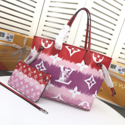 印刷シリーズ佐倉のピンクを結染めればすみれ色および赤い従来に日本人のねじれの染まることは採用されたモノグラムのレプリカ贅沢なL袋のNeverfullのハンドバッグである