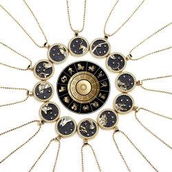 매력의 선물 카드 데이 나이트 로즈 골드 생일 보석 여성용 동전 펜던트 12 Zodiac 사인 골드 도금 목걸이
