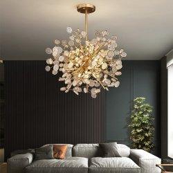 Décor nordique Hôtel créatrice de l'or Voyant DEL de lustre Post-Modern Art Direction générale de la salle à manger de la personnalité Leaf Lustre