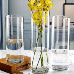 Großhandelshaushaltswaren-billig Raum-eleganter Zylinder kundenspezifischer Glasvase für Dekoration