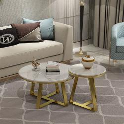 Mobiliario de casa de cristal redondo de acero inoxidable Tabla Tabla Oro piernas