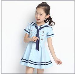 夏様式の赤ん坊の幼児女の子の服海軍は綿の船員カラー女の子の子供の衣服のための大きい弓子供の服を縞で飾った