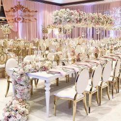 2020 Royal Luxury Hotel Golden Restaurante de banquetes de boda de acero inoxidable Muebles de Comedor silla